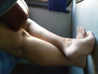 Candid granny sexy stinky feet play in bus after job