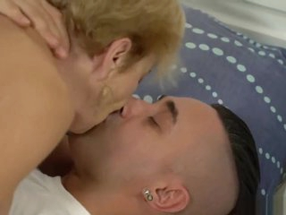 Old blonde grandma fucked by a stud