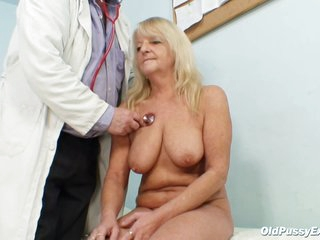 Czech Granny Is Moaning While Her Gynecologist Is Inserting Various Objects Inside Her Wet Pussy